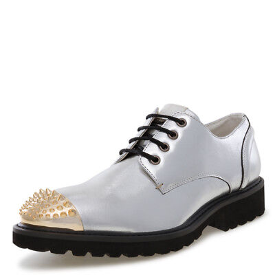 J75 by Jump Men's JETHRO Silver Spiked Narrow Toe Dress Casual Oxford Shoe