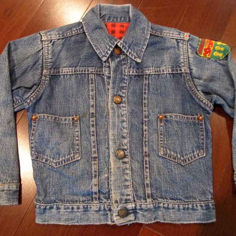 "VINTAGE ORIGINAL KIDS DENIM JACKET "" CIRCLE RANCH "" PLEDGE LINER 1950"