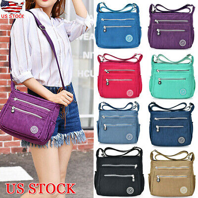 Women Nylon Tote Messenger Cross Body Handbag Lady Shoulder Bag Purse Waterproof