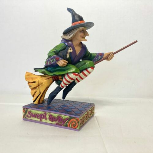 JIM SHORE Heartwood Creek SWEPT AWAY Flying Witch on Broom with Cat #4005338