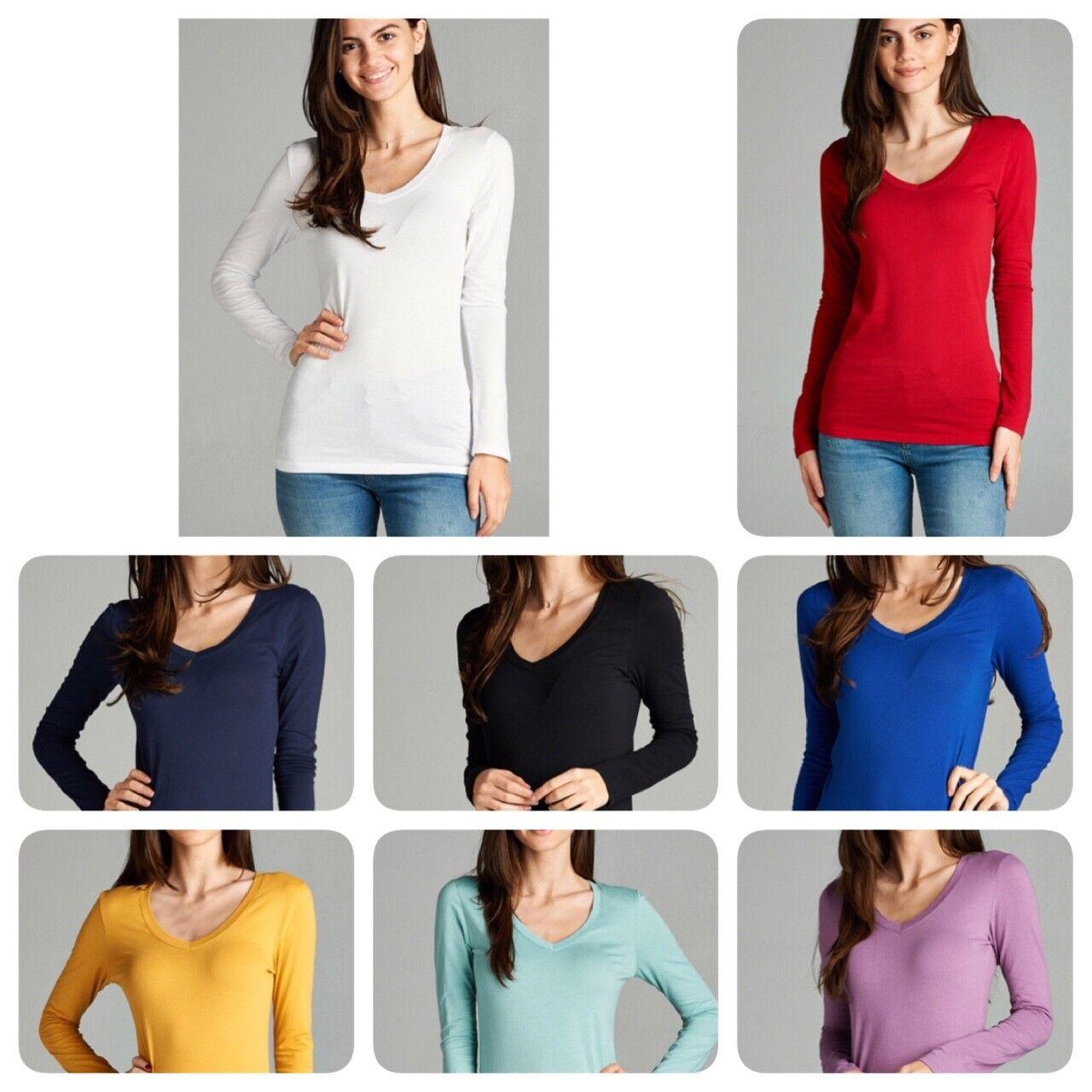 Women Long Sleeve V-NECK T-Shirt Active Basic Cotton Layerin