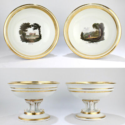 Pair of Large Antique Meissen Topographical Footed Bowls - Tazza Centerpieces PC