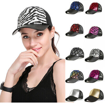 Sequin Baseball Cap (Fashion Women Ponytail Baseball Cap Sequins Shiny Messy Bun Snapback Hat Sun)