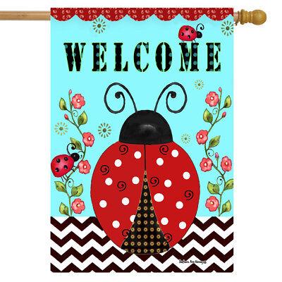 """Welcome Ladybugs Spring House Flag 28"""" x 40"""" Briarwood Lane"""