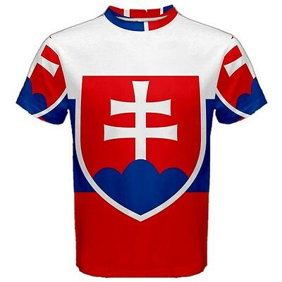 Slovakian Slovakia Flag Sublimated for Men's Sport Mesh Tee T-Shirt Size - Slovakia Flag T-shirt