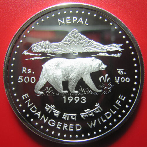 1993 NEPAL 500 RUPEE SILVER PROOF HIMALAYAN BEAR ENDANGERED WILDLIFE RARE COIN!