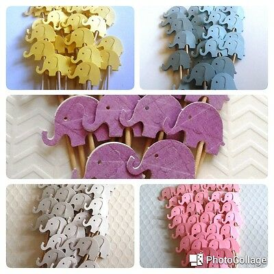 Handmade 36 Elephant Double-sided Cupcake Toppers Picks Party Deco