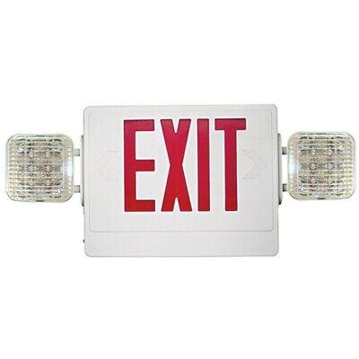 Combo Led Emergency Exit Sign Light White Housing Lettering Greenred New