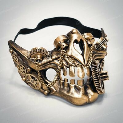 Steampunk Face Masks Halloween Masquerade Mask Costume Gold Chain
