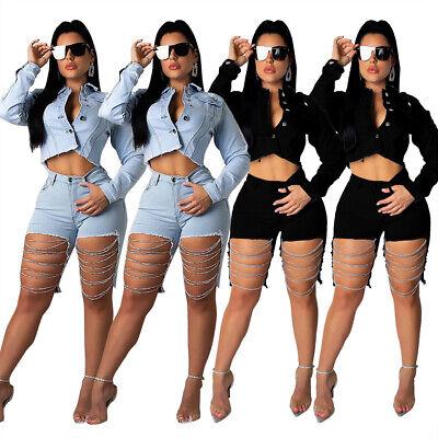 Women Jeans Street Style Chains Hole Casual Club Jeans Short Denim Short Trouser Denim Trouser Style Jeans