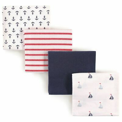 Luvable Friends Boy Flannel Receiving Blankets, 4-Pack, Sailboats