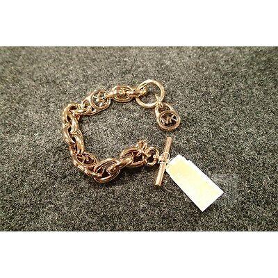 Michael Kors Womens Logo Lock Chain $115.00 Rose Gold Tone Toggle Bracelet OS
