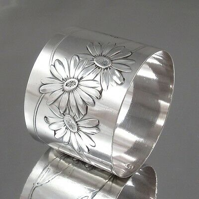 Antique French Sterling Silver Napkin Ring Daisies, Hallmark Minerve 1, Lefebvre ()