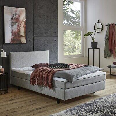 Boxbett Sylvie 120 x 200 cm in grau Federkernmatratze mit integriertem Topper