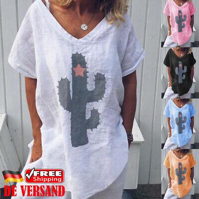 Damen Mode Sommer T-shirt Kaktus Printed Oberteile Freizeit Tunika Leinenbluse - Leinen Bluse Shirt