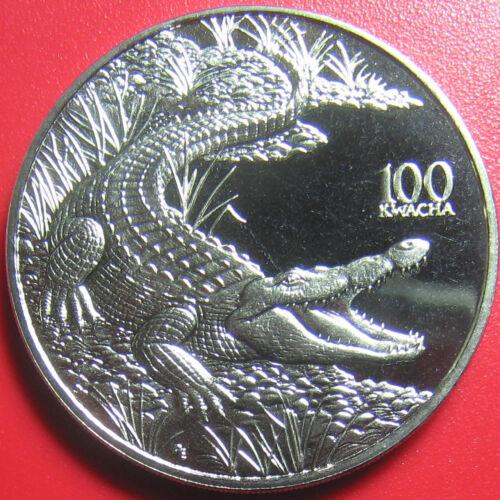 1998 ZAMBIA 100 KWACHA CROCODILE CROC AFRICAN WILDLIFE! CU-NI 38.6mm (no silver)