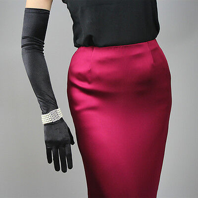 Stretchy Satin Silk Gloves Opera Evening Elbow Wrist Long Short Hepburn Black - Short Satin Gloves