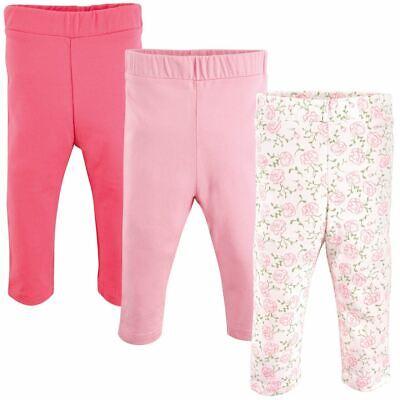Luvable Friends Girl Baby Leggings, 3-Pack, Pink Rose