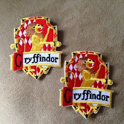 🧙2-Harry Potter Movie GRIFFINDOR House/Crest/Shield Iron-on Logo PATCHES Badge!](Griffindor Patch)
