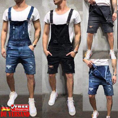 DE Herren Jeans Kurze Jumpsuits Overalls Denim Carpenter Hose Latzhose Dungarees Denim Carpenter Jeans