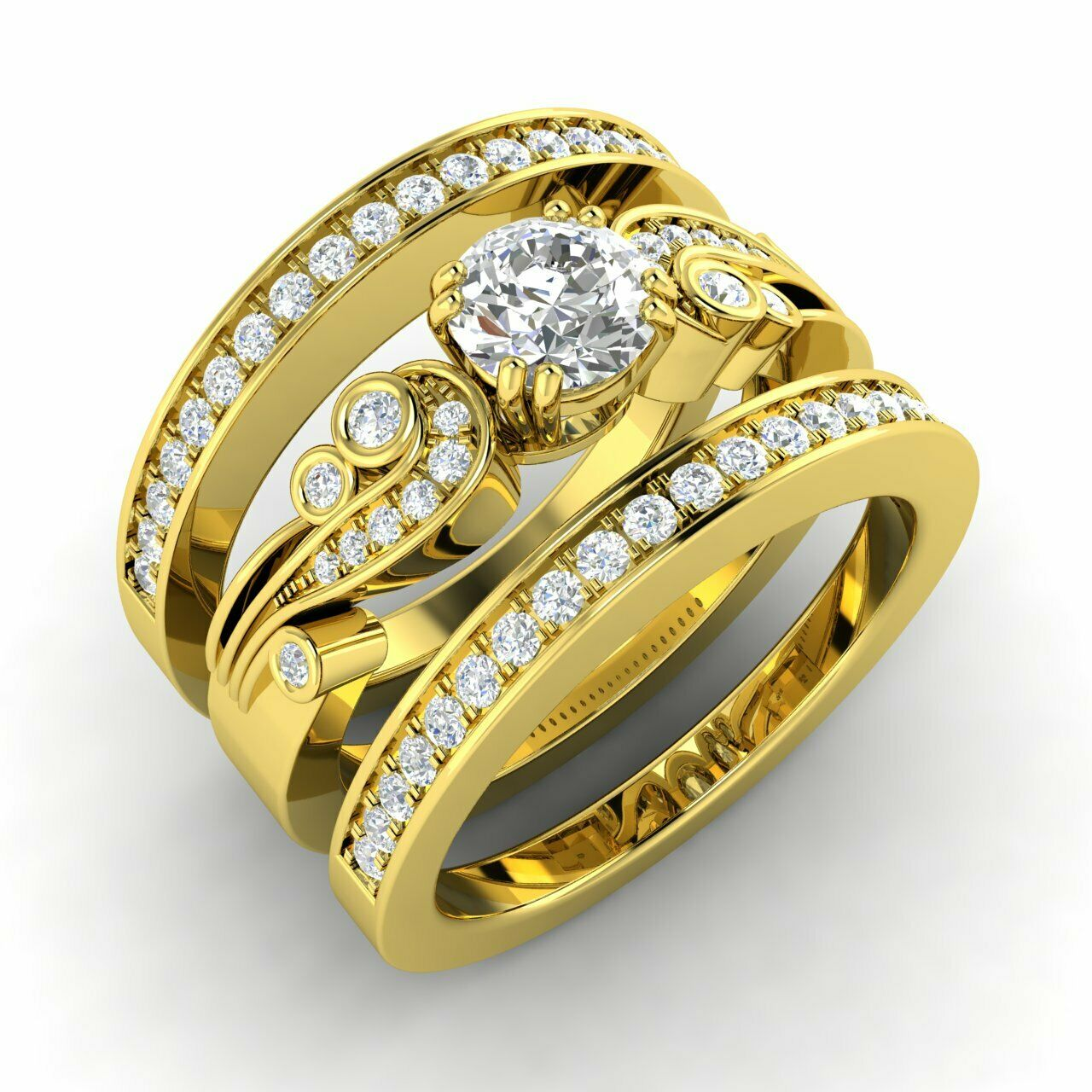 Natural Diamond Bridal Engagement Ring w/ 2 Matching Bands in 14k Yellow Gold