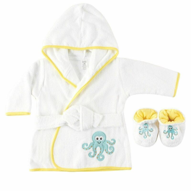 Luvable Friends Boy and Girl Bath Robe with Slippers, Octopus