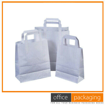 Large White Kraft Takeaway Paper Food Carrier Bags 10