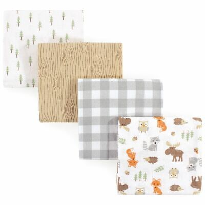 Hudson Baby Boy Flannel Receiving Blankets, 4-Pack, Woodland