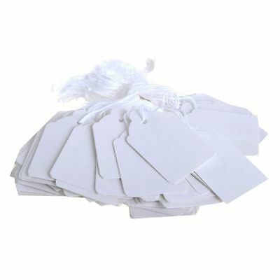 100 x  WHITE Strung Price Ticket Tags Labels Retail Clothing Gift Sticker