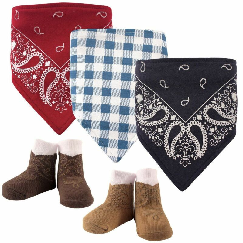 Hudson Baby Boy Bandana Bib and Socks, 5-Piece Set, Boy Western