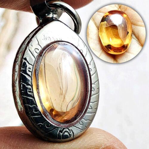 Ellipse Naga Eye Healing Gem Stone Thai Amulet Leklai Oval Crystal Orange #16512