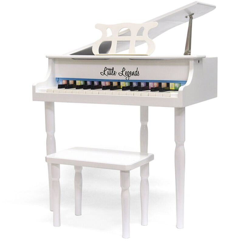 Little Legends LLBGD303W 3 Leg Baby Grand 30-Key Toy Piano w/ Bench, White