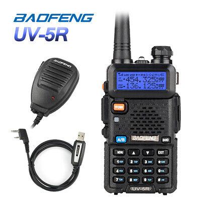 DE BaoFeng UV-5R + Kabel + Mikrofon 2M/70cm Walkie-Talkies Hand-funkgerät Radio