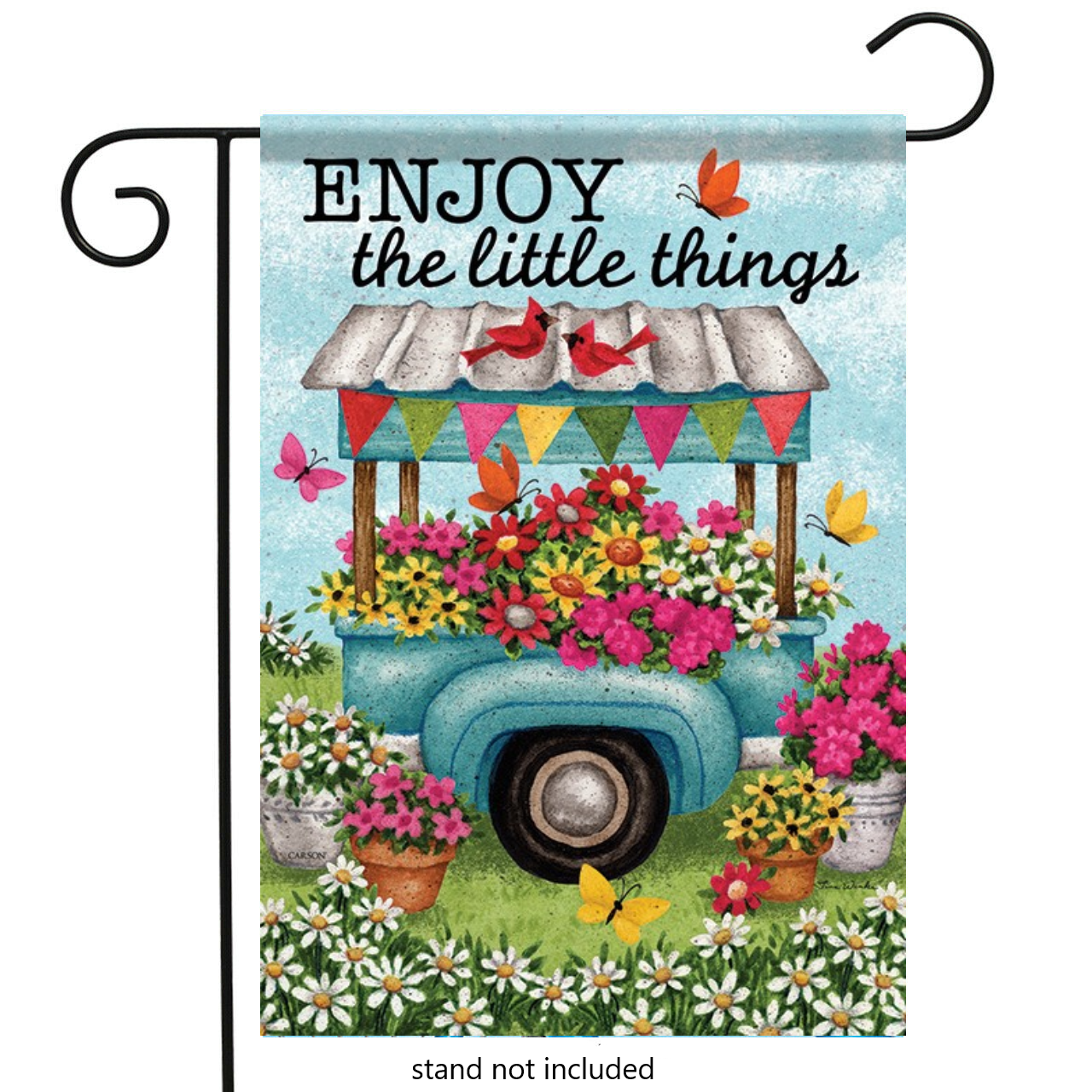 flower cart double sided garden flag 12