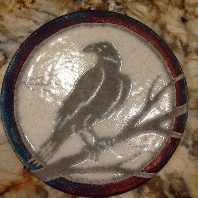 Raven Coaster Raku Pottery, handmade, handsigned - NEW
