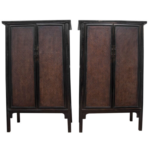 Early 19th c. Black Lacquered Elm Wood Cabinets w/Inset Woven Rattan Door Panels