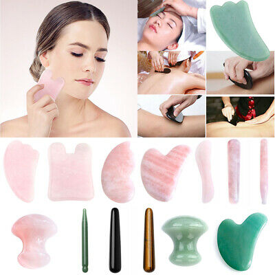 Quartz Jade Face Skin Slimming Massage Roller Gua Sha Scrape Board Handmade