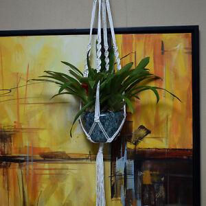 Handmade 40 Inch Macrame Plant Hanger Pot Holder 4 Leg Nylon Rope Bright White