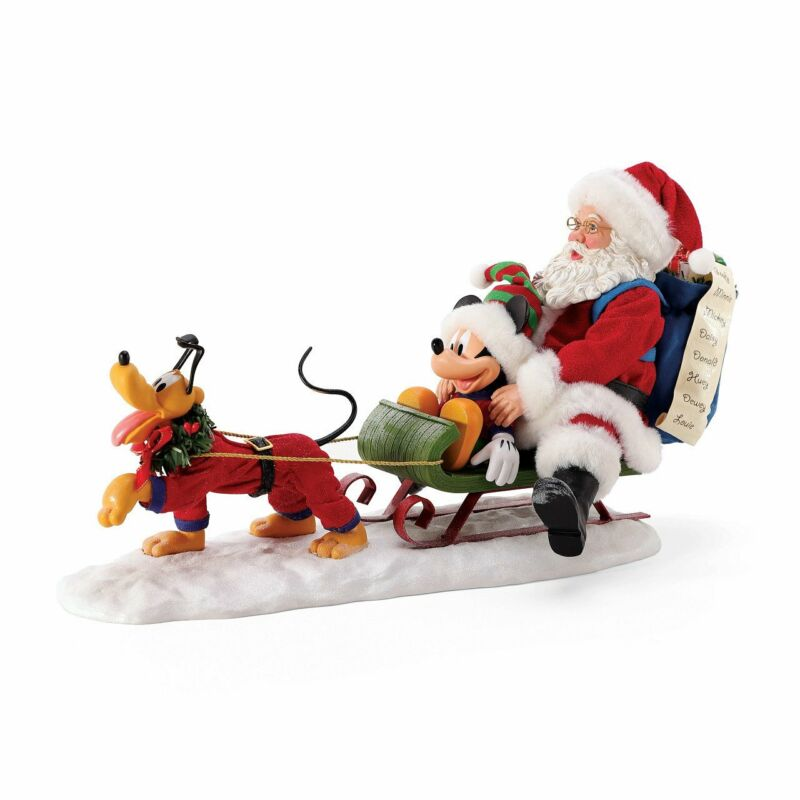 """Department 56 Disney Clothtique """"Out For Deliveries"""" Mickey, Pluto & Santa Chris"""