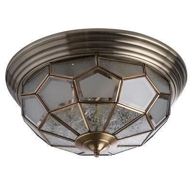 6 Tiffany Deckenleuchte (Tiffany runde Deckenleuchte 6 flammig messingfarbiges Metall klares Glas)