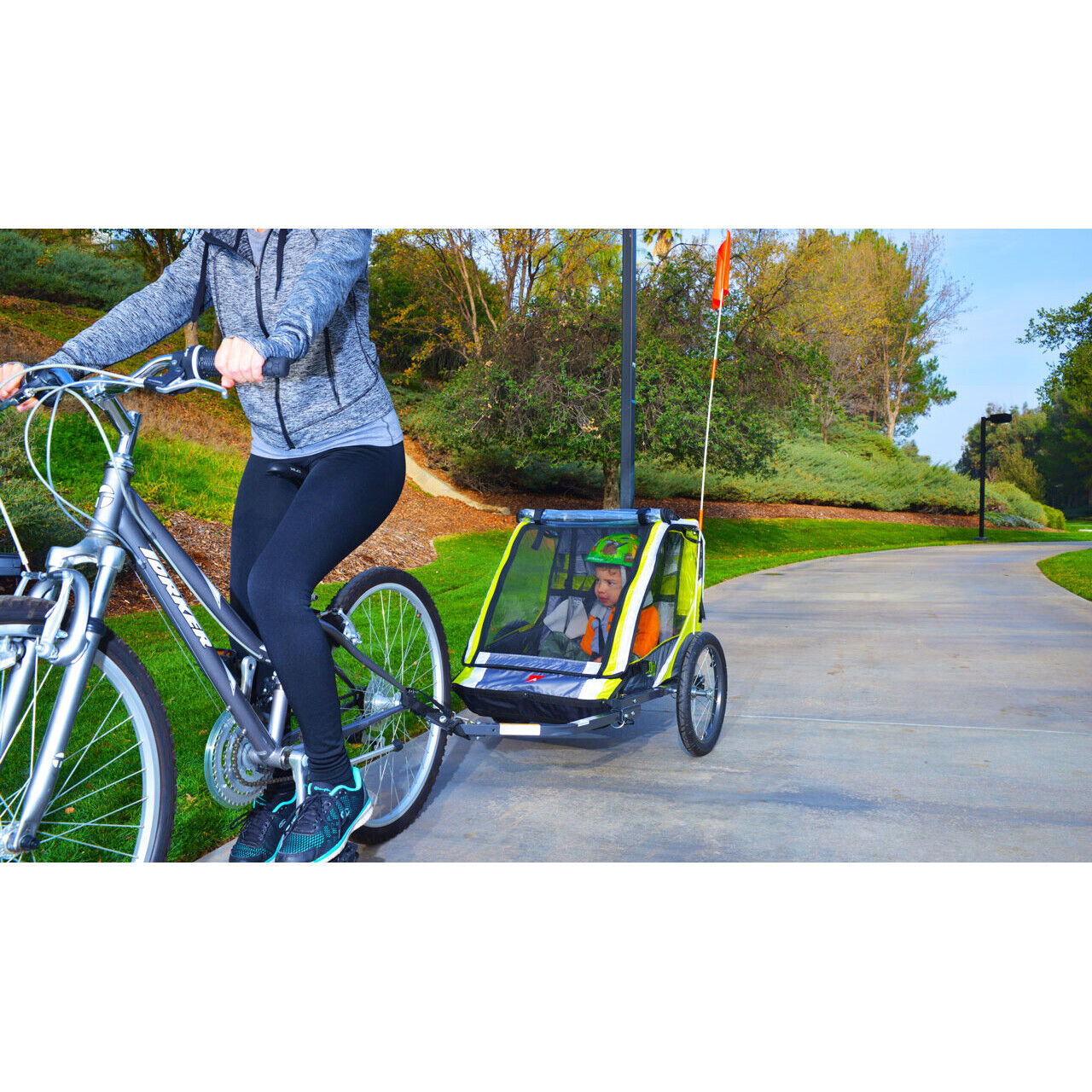 2 Child Bike Trailer Sports Deluxe Lightweight Steel Constru