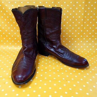 Vintage Justin Boots Cherry leather Line Dancing Western cowboy boots UK 11