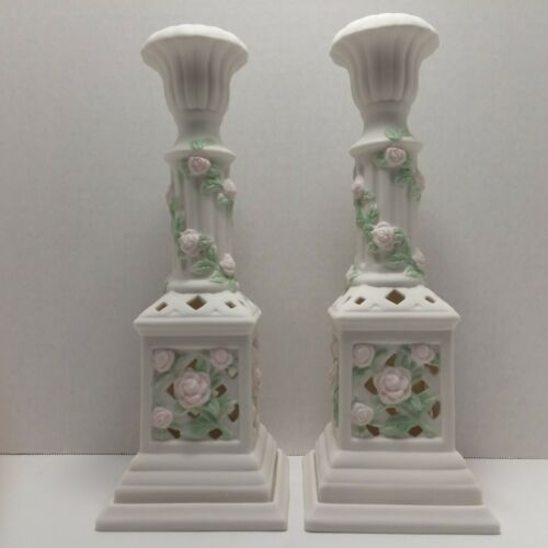 Avon Gift Collection Bisque Porcelain Rose Motif Candle Holders