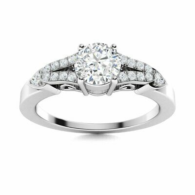 GIA Certified 0.57 Carat GH/SI Diamond Engagement Ring in Solid 14k White Gold