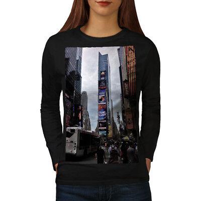 Womens Times Square (Wellcoda USA Times Square Fashion Womens Long Sleeve T-shirt, USA Casual Design)
