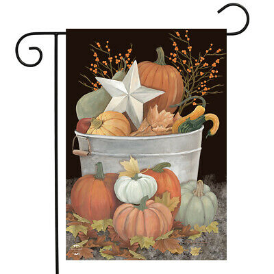 "Fall Bushel Primitive Garden Flag Pumpkins Star Berries 12.5""x18"" Briarwood Lane"