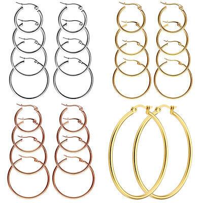 Womens Ladies Stainless Steel Hoop Circle Big Large Earrings Rings Silver Gold