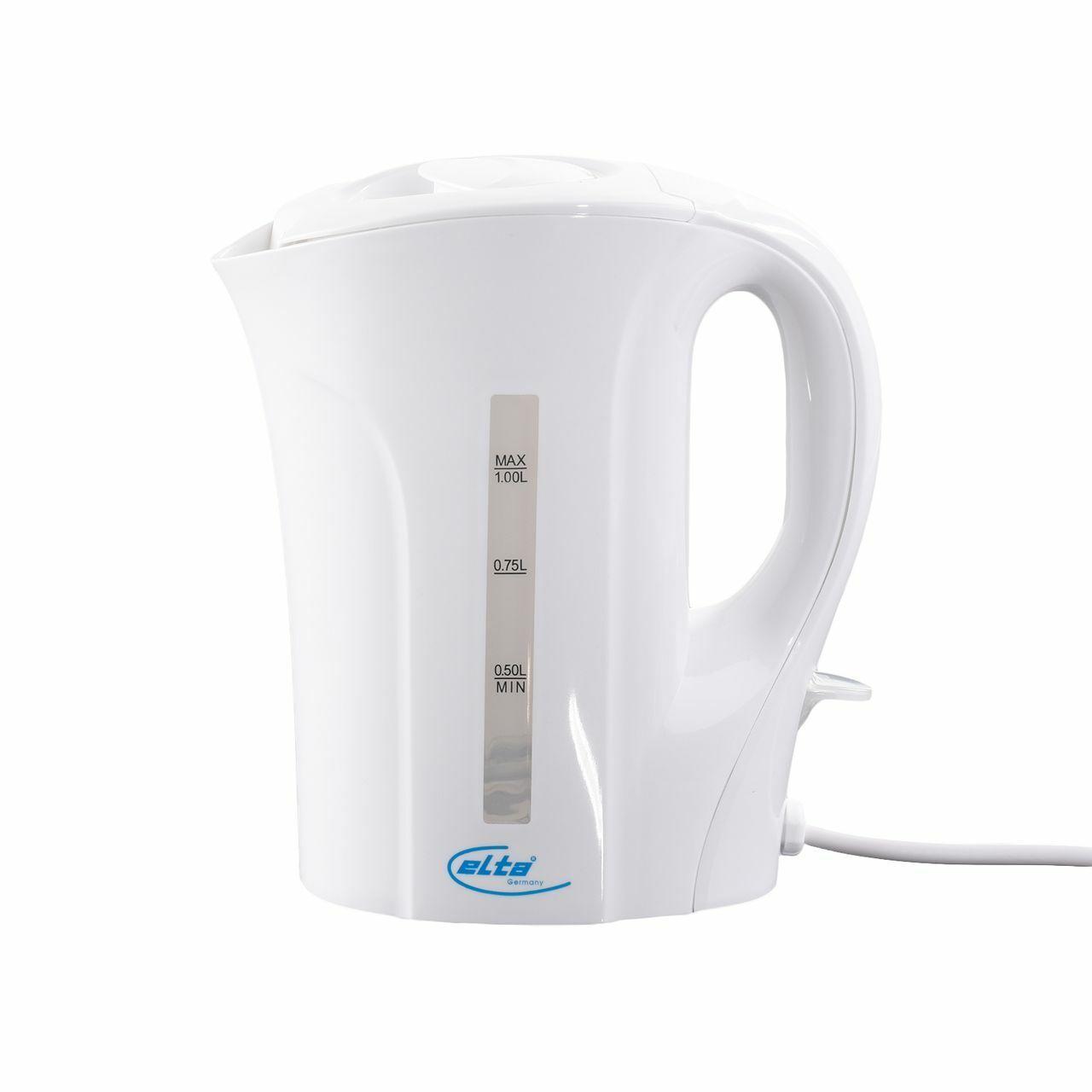 Elta  Wasserkocher, 1,0 Liter, Kunststoff 800-1000 W, Weiß