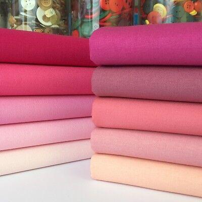Rainbow Craft 100% cotton fabric blenders per 1/2 metre or 10 piece bundle pinks