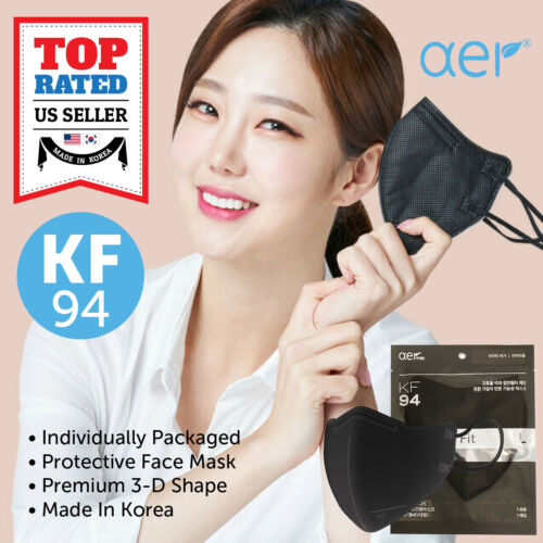 AER KF94 BLACK Face Protective Safety Mask Made in Korea 4 Layers Medium